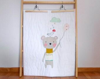 Baby quilt/ stroller quilt/ blanket, playmat, the bear & the birdie, Modern nursery, Nursery decor/nursery bedding, made to order