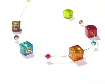 Murano Glass Colorful Large Cube Gold Necklace, Venetian Jewelry, Italian Jewelry, Illusion Necklace, Colorful Lampwork Glass Necklace