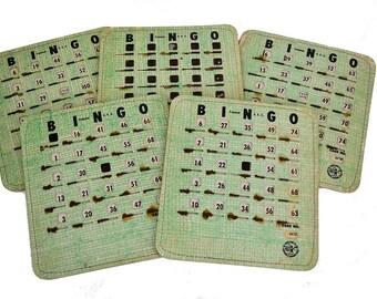 Vintage Bingo Cards, Shutter Slide Windows, 1950s Game Boards, Green Bingo King Cards, Lot of 5, Finger Tip Cards, Paper Crafts, Altered Art