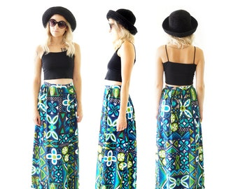 Psychedelic 60s Print Maxi Ruffle Skirt, Vintage Wrap Skirt, 60s Festival, Women's Size Small