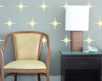 Star Decals, REUSABLE Fabric Decal, Pattern Decals Nontoxic PVC free Ecofriendly Decal, Retro Pattern Star Decal, SD14