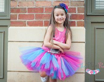 "Pink turquoise & purple tutu ""Cort"" pink tutu purple tutu turquoise girls tutu photo prop birthday tutu size 5 6 7 8 10 12 rock star outfit"