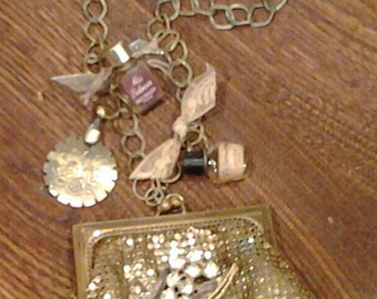 Whiting and Davis Coin Purse Assemblage Necklace