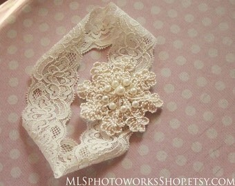 Vintage Style Ivory Embroidered Lace Baby Girl Headband - Soft Ivory Wedding Headbands and Hair Clips with Pearls