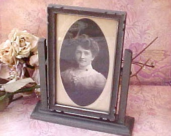 Lovely Edwardian Era Photograph of Pretty Young Lady in Easel Frame