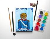 A Portrait Of A Pug As George IV Pug Painting Original Art Dog Watercolour