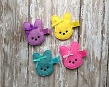 Marshmallow Bunny Hair Clip, Felt Bunny Clippie, Easter Bunny Hair Clip, Easter Bow, Embroidered Felt Hair Clip for Baby, Toddler or Girl