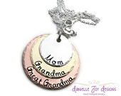 Stamped Jewelry Personalized Jewelry - Layered Mixed Metal Mother Keepsake Mom Grandma Great Grandma Copper Sterling Brass Necklace