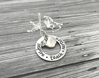 "Teachers Perfect Apple Necklace - ""Inspire . Teach . Nurture"" Apple Thick Pewter Necklace- Hand Stamped Jewelry - Personalized Jewelry"