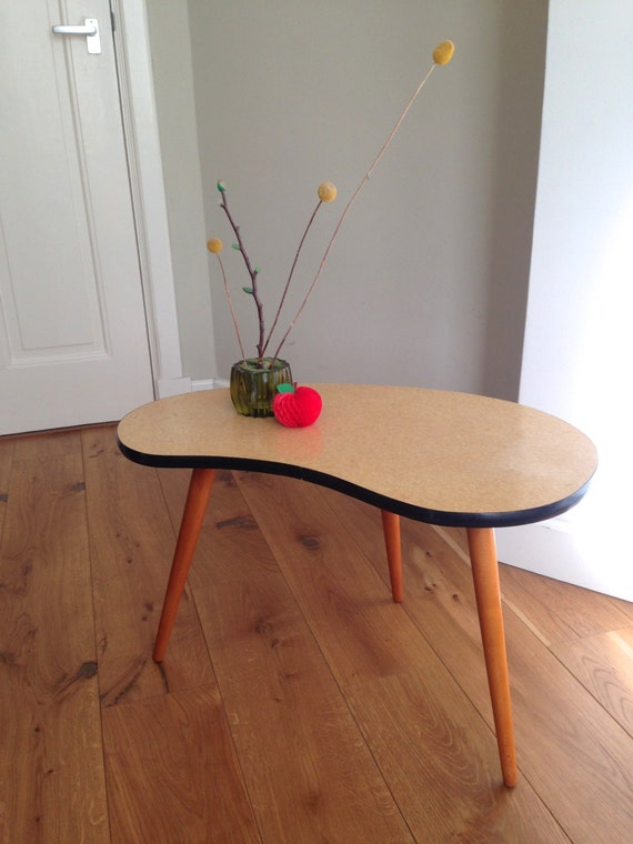 Vtg Tripod Coffee Table Kidney Shape Large Size