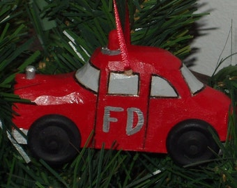 Fire Car, Handcarved Fire Car, Wood Fire Car, Fire Car Ornament,