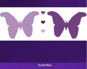 Cross Stitch Kit - Butterflies - Purple - DMC Materials - Choose Your Own Colours