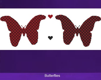 Cross Stitch Kit - Butterflies - Red and Black Hearts - DMC Materials - Choose Your Own Colours