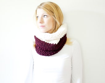 RTS - the SOLOMON cowl - knit cowl scarf chunky scarf - color block - claret / fisherman