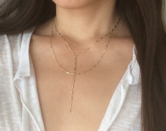 Gold Fill Double Strand Layered Y Lariat with DOUBLE Drop Chain also in Sterling Silver