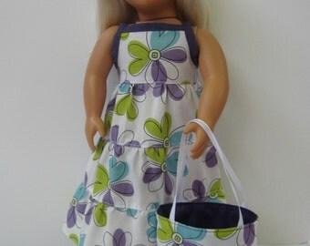 Sweet summer sundress and tote bag, summer doll dress, fits 18 inch dolls, halter dress, maxi dress