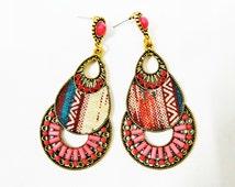 Indian Earrings, Bollywood Earrings, Indian Bollywood Earrings, Indian Chandelier Earrings, Fabric Earrings, Pink Indian Earrings