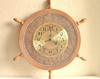 Nautical Captain's Wheel Wall Clock Working Wood Metal Leather