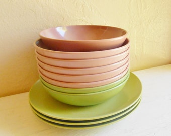 SALE Pink and Green Melamine Plastic Bowls and Plates Saucers 11 Dishes Outdoor Dining Picnics BBQs
