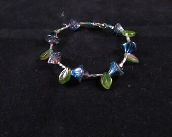 Hand beaded bracelet, flower hand beaded bracelet, leaf hand beaded bracelet. blue flower bracelet, Bellflower and leaf hand beaded bracelet