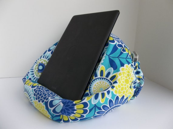 Large Bean Bag Chair For Tablets Teal Aqua Chartreuse Flowers