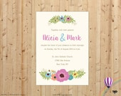 Wedding Invitation Vintage Floral Design, Beige Purple Wedding Invitation, Wedding Invite, Printable Invitation - FPD3sign invitations