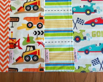 Boys Mix and Match Lunchbox Napkins (4) with Race Cars, Dump Trucks, Loaders in Blue, Yellow, Orange, Lime Green