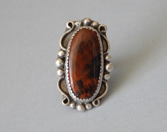 Vintage sterling silver mahogany obsidian ring, Native American, Fred Harvey Era, large brown ring