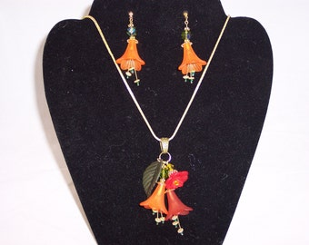 Bell flowers Necklace and Earrings