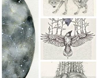 Cosmic Beasts- Animal Constellation art print set 11x14