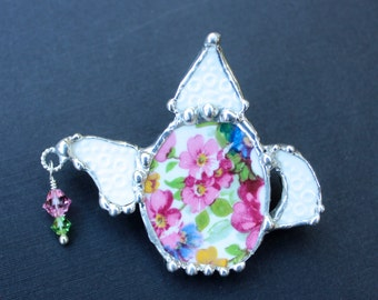 Broken China Brooch Pin, Broken China Jewelry, Mosaic Teapot,  Pink and Blue Floral Chintz, Soldered Jewelry