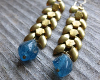 brass wheat chain and blue quartz crystal earrings