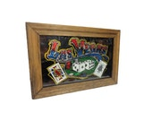 CLEARANCE Vintage Las Vegas Wall Hanging - 1970s Glitter Art Sign, Viva Las Vegas, Vintage Gambling Game Room Sign, Carnival Glitter Picture
