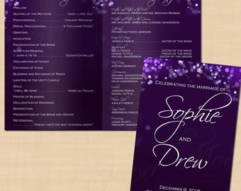 Purple Night Sky Wedding Program Booklet (Folds to 5.5 x 8.5): Text-Editable in Microsoft® Word, Printable Instant Download