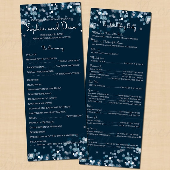 Sparkly Stars On Water Text-Editable Double-Sided Long Wedding Programs: 4.25 x 11 - Instant Download