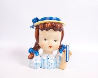 Vintage Little Girl Head Vase Napco Japan Figurine Girl With Braids Porcelain Head Vase Hand Painted Ceramic