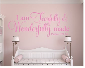 Fearfully and Wonderfully Made Decal Vinyl Wall Decal Psalm Bible Verse Scripture Wall Decal Nursery Wall Decal Girls Boys Vinyl Decal Wall