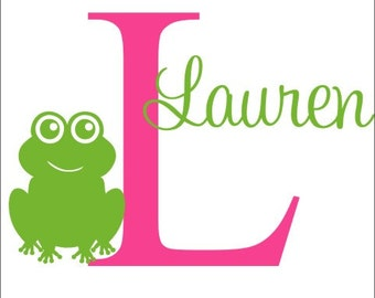 Personalized Frog Decal Frog Wall Decal Frog Nursery Decal Bedroom Decal Boys Girls Vinyl Wall Decal Vinyl Decal Frog Vinyl Decal Initial