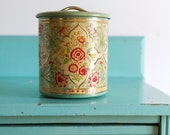 Vintage floral kitchen tin canister made in Holland, Mid Century Floral Nesting Kitchen Tins, Vintage Embossed Storage Tins, vintage tin can