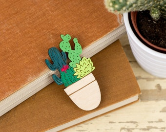 Pot Full of Cacti Brooch, Laser Cut Plants Pin, Plywood Cactus Jewellery