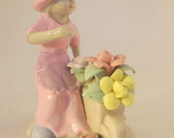 Vintage 80's girl with wheelbarrow figurine filled  with capodimonte flowers