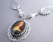 Victorian Necklace Cameo Jewelry Open Wings Steampunk Hands Lady Jane Ellenborough Georgian Portrait Ornate Gothic Fantasy Antiqued Silver