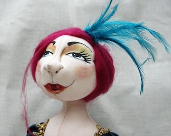 OOAK Cloth Art Doll Lottie