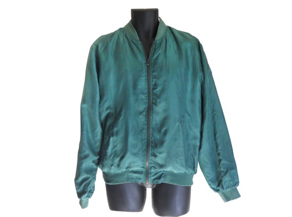 Silk Bomber Jacket Men Silk Jacket Men Bomber Jacket Green