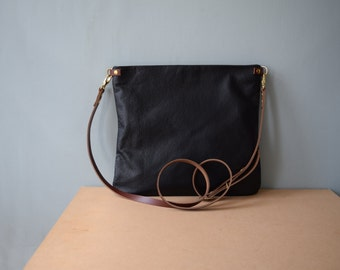 Miminalist Leather Cross body Bag Purse - FLOTTA -  Midnight BLACK LEATHER Leder Taschen with Tan leather adjustable shoulder strap by Holm