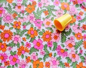 RESERVED -- pink, magenta and orange floral print vintage cotton fabric -- 36 wide by 1 2/3 yard