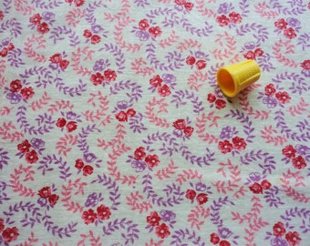 red, pink and lavendar floral print vintage full feedsack fabric