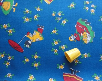 ladies from around the world novelty print vintage cotton denim fabric -- 46 wide by 25 inches