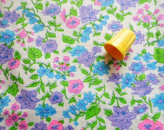 pink, lavender, blue and bright green floral print vintage cotton fabric -- 44 wide by 2 yards