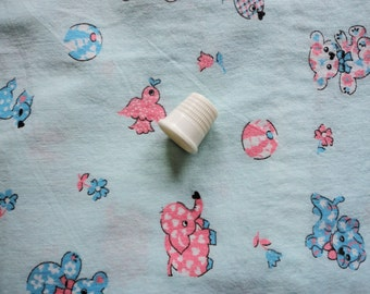 pink and blue on light blue vintage cotton juvenile print gown